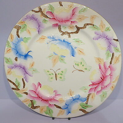 Vintage Maling 6507 Peony and Butterflies Charger Plate 11.25ins c1934-1940s