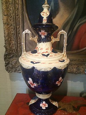 Large Antique Welsh Gaudy Lustre Urn With Lid / Vase 20 Inch Tall