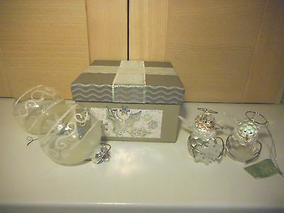 4 White Glass Glitter Baubles & Plastic Snowman Christmas Tree Ornaments In Box