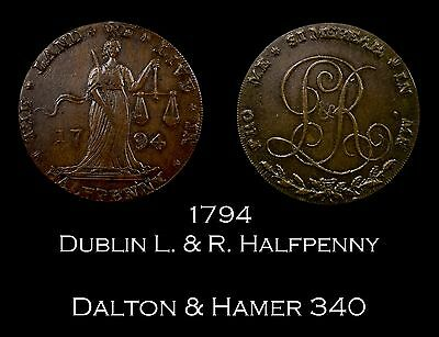 1794 Dublin L&R Conder Halfpenny D&H 340 | date double-punched