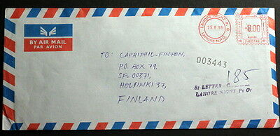 Pakistan 1986 meter mark cover to Finland