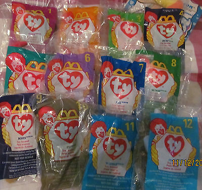 Rare Mc Donalds McDonalds 12 Ty Teenie Toys Promotional 1993 Full Mint Set