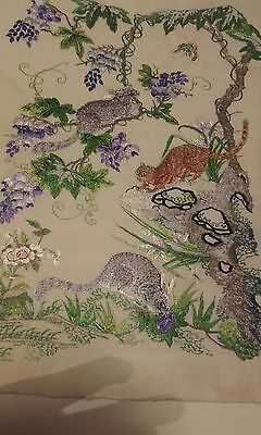 A Fine Antique 19thc Chinese Silk Embroidered Panel with animals