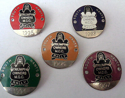 SOUTH HANTS TRIUMPH OWNERS M C C RALLY ENAMEL LAPEL BADGES 1994 TO 1998 all 5