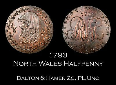 1793 North Wales Conder Halfpenny D&H 2c, Proof-Like Unc