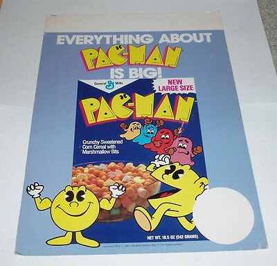 1982 PAC-MAN Grocery Cereal Store Sign General Mills box video game Bally Midway