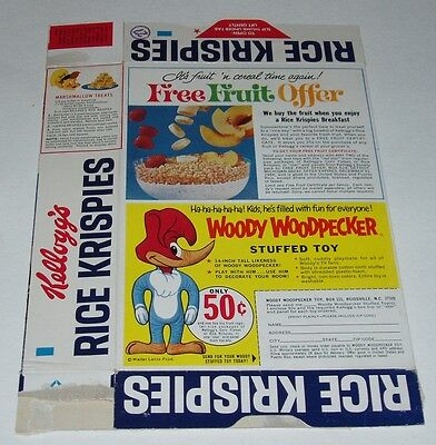 1965 Kelloggs Rice Krispies Cereal Box w/ Woody the Woodpecker doll offer