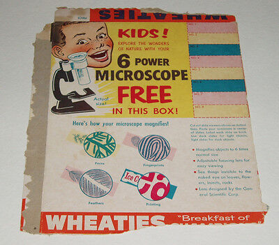 1950's Wheaties Microscope Cereal Box Back w/ premium offer