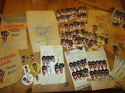 Collection of Vintage Robertson's Jam Advertising items- bags , labels , badges