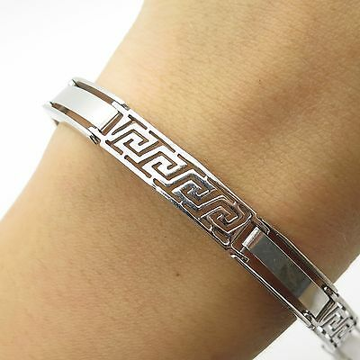 925 Sterling Silver Greek Maze Design Men's Link Bracelet 8 3/4""