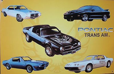 Pontiac Trans Am Sign Muscle Car History Vintage Metal Advertising Tin New