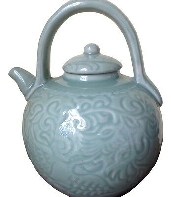 "Chinese Celadon Phoenix Bird Large Teapot Large Bulbous 9 1/2"" Tall ~ 23"" Round"