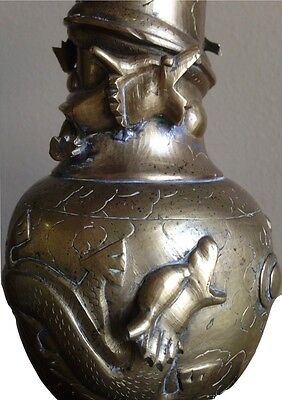ANTIQUE CHINESE BRASS VASE Relief OF Dragons Chasing Pearl of Knowledge 9""