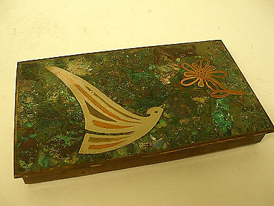 Mid-Century Mexican Inlaid Brass Trinket Box Mixed Metal & Turquoise Stone Teran
