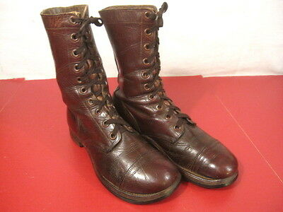 """post-WWII US Army Paratrooper Leather """"Cochran Style"""" Jump Boots - Sz 7EE - 1951"""