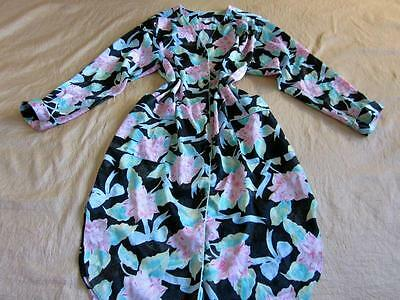 Vintage Christian Dior Soft Satin Dressing Gown/Nightshirt/Robe Button Front L