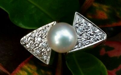 Vintage 14k White Gold Pearl & Diamond Cocktail Ring Estate Jewelry