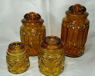4 Brown Amber LE Smith Glass Apothecary Jar Canister Set
