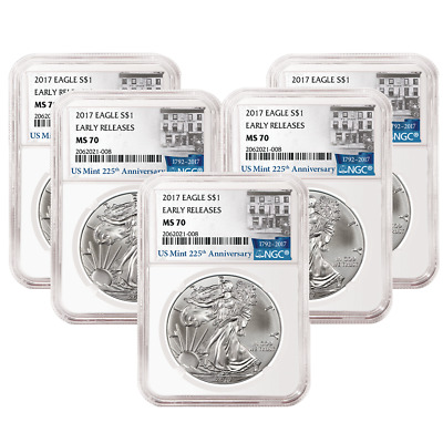 Lot of 5 - 2017 $1 American Silver Eagle NGC MS70 Early Releases 225th Ann. ER L