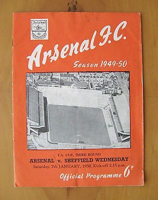ARSENAL v SHEFFIELD WEDNESDAY FA Cup 1949/1950 Good Condition Football Programme