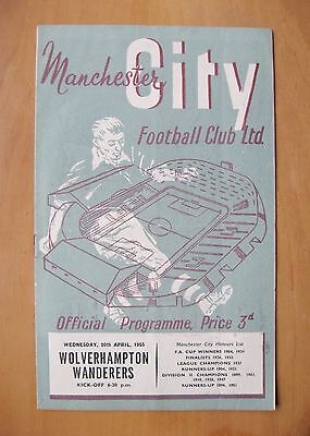 MANCHESTER CITY v WOLVES 1954/1955 VG Condition Football Programme