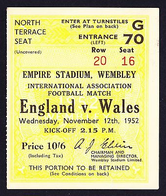 ENGLAND v WALES 1952 *VG Condition Ticket*