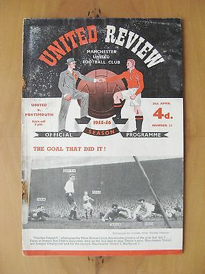 MANCHESTER UNITED v PORTSMOUTH 1955/1956 *Fair Condition Football Programme*
