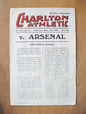 CHARLTON ATHLETIC v ARSENAL 1948/1949 *Good Condition Football Programme*