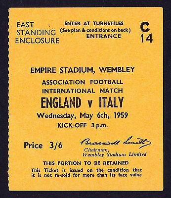 ENGLAND v ITALY 1959 *Excellent Condition Ticket*