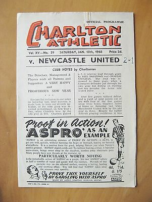 CHARLTON ATHLETIC v NEWCASTLE UNITED FA Cup 1947/1948 *Good Condition Programme*