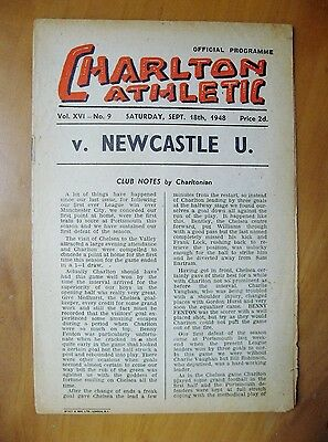 CHARLTON ATHLETIC v NEWCASTLE UNITED 1948/1949 *VG Condition Football Programme*