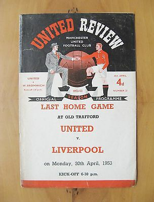 MANCHESTER UNITED v WEST BROMWICH ALBION 1952/1953 Fair Cond Football Programme