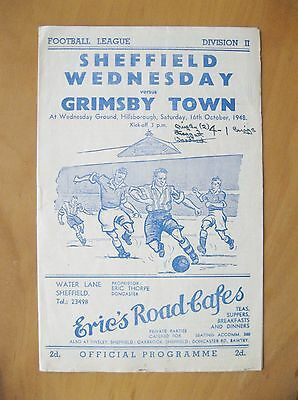 SHEFFIELD WEDNESDAY v GRIMSBY TOWN 1948/1949 *Good Condition Football Programme*