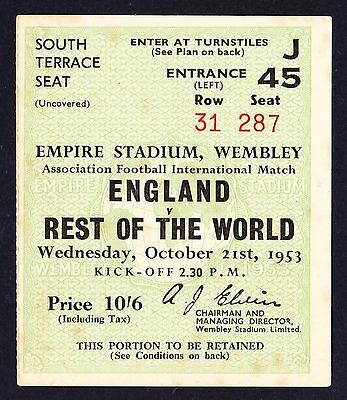 ENGLAND v REST OF THE WORLD 1953 *Good Condition Ticket*