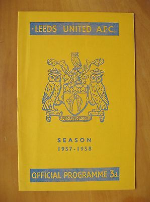 LEEDS UNITED v ARSENAL 1957/1958 *Excellent Condition Football Programme*