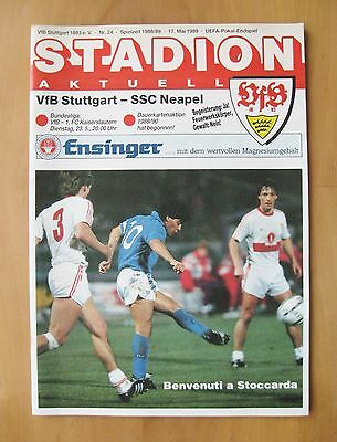 STUTTGART v NAPOLI UEFA Cup Final 1989 *Excellent Condition Football Programme*