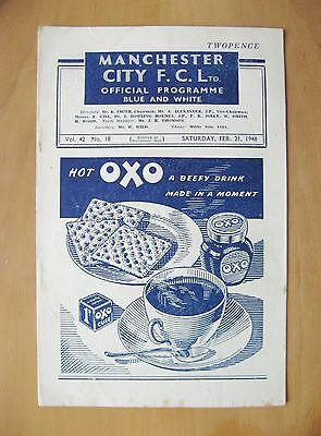MANCHESTER CITY v BLACKPOOL 1947/1948 *VG Condition Football Programme*