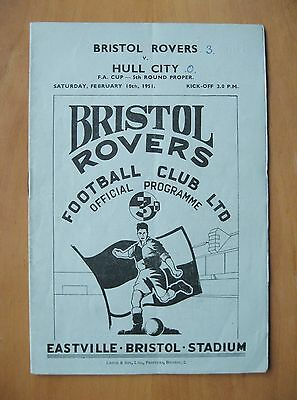 BRISTOL ROVERS v HULL CITY FA Cup 1950/1951 *VG Condition Football Programme*