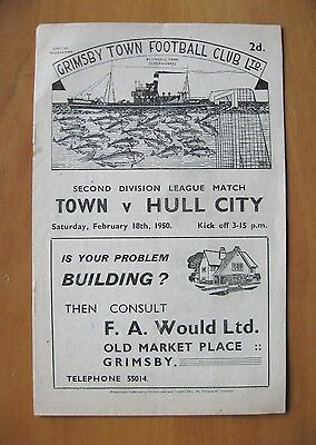 GRIMSBY TOWN v HULL CITY 1949/1950 *VG Condition Football Programme*