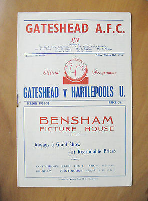 GATESHEAD v HARTLEPOOL UNITED 1955/1956 *Excellent Condition Football Programme*
