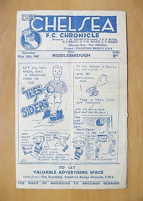 CHELSEA v MIDDLESBROUGH 1946/1947 *Good Condition Football Programme*