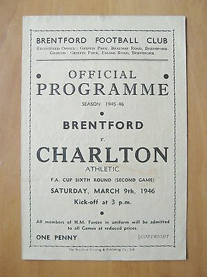BRENTFORD v CHARLTON ATHLETIC FA Cup 1945/1946 Good Condition Football Programme