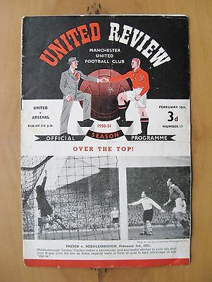 MANCHESTER UNITED v ARSENAL FA Cup 1950/1951 *Good Condition Football Programme*