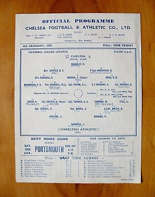 CHELSEA v CHARLTON ATHLETIC 1944/1945 *VG Condition Football Programme*