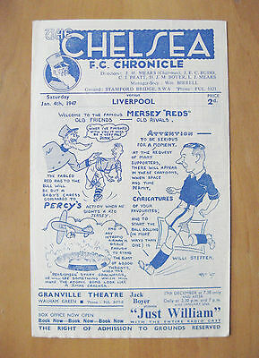 CHELSEA v LIVERPOOL 1946/1947 *Excellent Condition Football Programme*
