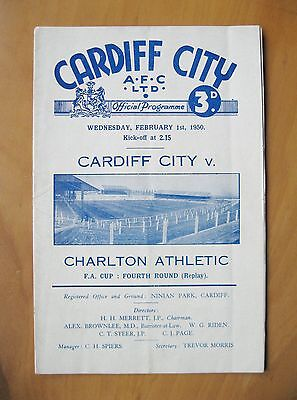 CARDIFF CITY v CHARLTON ATHLETIC FA Cup 1949/1950 *VG Cond Football Programme*