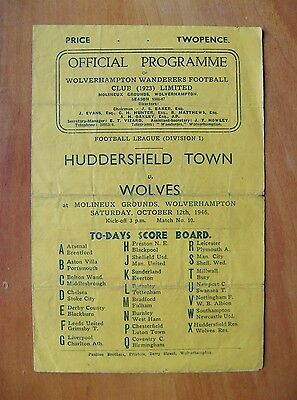WOLVES v HUDDERSFIELD TOWN 1946/1947 *Good Condition Football Programme*