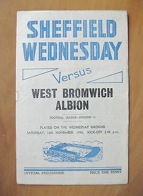 SHEFFIELD WEDNESDAY v WEST BROMWICH ALBION 1946/1947 *Good Condition Programme*