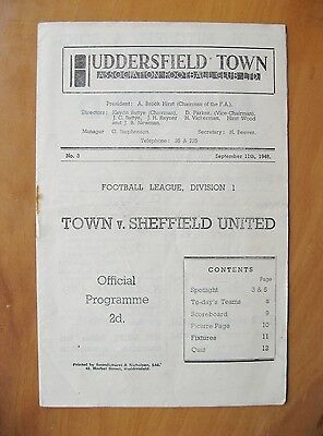 HUDDERSFIELD TOWN v SHEFFIELD UNITED 1948/1949 Exc Condition Football Programme