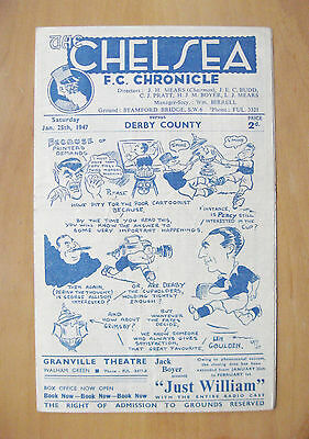 CHELSEA v DERBY COUNTY FA Cup 1946/1947 *VG Condition Football Programme*